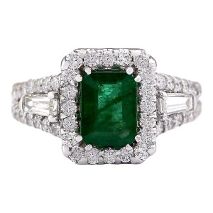 Fashion Strada 3.30 Ctw Natural Emerald and Diamond In 14k White Gold Ring