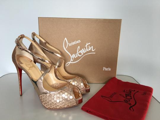 Christian Louboutin Classic Simple 85mm Heels Patent Leather Nude Sandals Image 1