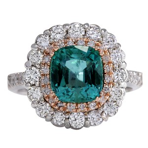 Fashion Strada Green 3.26 Carat Natural Emerald 14k Two Tone Gold Diamond Ring