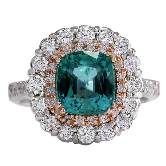 Fashion Strada Green 3.26 Carat Natural Emerald 14k Two Tone Gold Diamond Ring Image 0