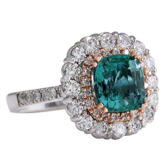 Fashion Strada Green 3.26 Carat Natural Emerald 14k Two Tone Gold Diamond Ring Image 1