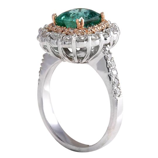 Fashion Strada Green 3.26 Carat Natural Emerald 14k Two Tone Gold Diamond Ring Image 2