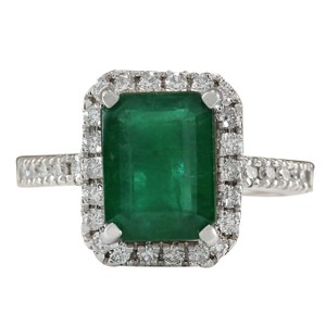 Fashion Strada 3.61ctw Natural Emerald and Diamond In 14k White Gold Ring