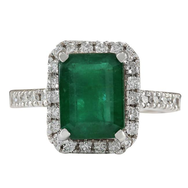 Item - Green 3.61ctw Natural Emerald and Diamond In 14k White Gold Ring