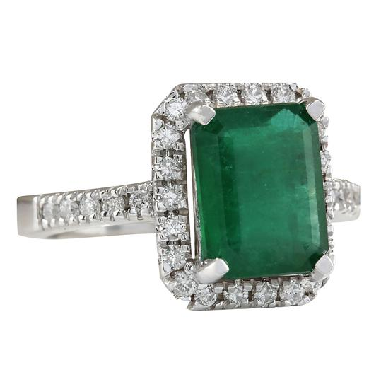 Fashion Strada 3.61ctw Natural Emerald and Diamond In 14k White Gold Ring Image 1