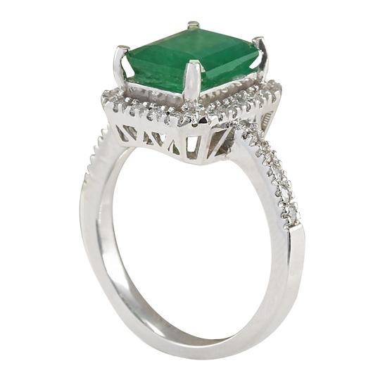 Fashion Strada 3.61ctw Natural Emerald and Diamond In 14k White Gold Ring Image 2