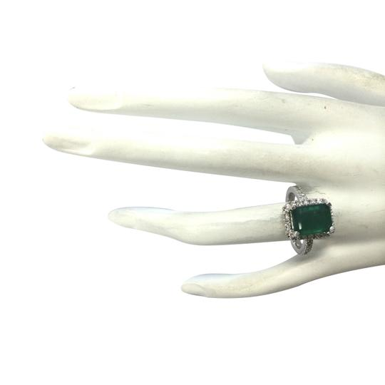 Fashion Strada 3.61ctw Natural Emerald and Diamond In 14k White Gold Ring Image 3