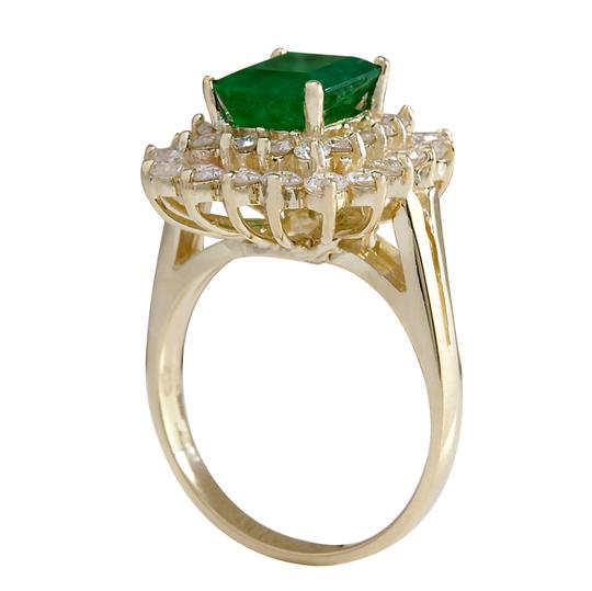 Fashion Strada 2.87ctw Natural Emerald and Diamond 14k Solid Yellow Gold Ring Image 1