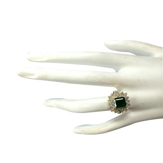 Fashion Strada 2.87ctw Natural Emerald and Diamond 14k Solid Yellow Gold Ring Image 3
