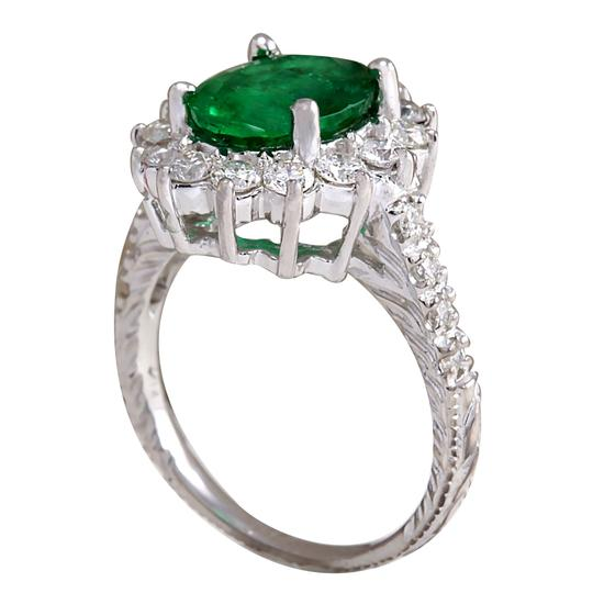 Fashion Strada 3.08ctw Natural Emerald and Diamond 14k Solid White Gold Ring Image 1