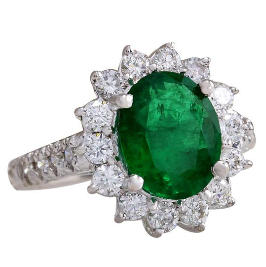 Fashion Strada 3.08ctw Natural Emerald and Diamond 14k Solid White Gold Ring Image 2