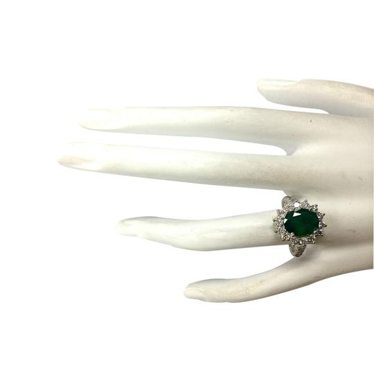 Fashion Strada 3.08ctw Natural Emerald and Diamond 14k Solid White Gold Ring Image 3