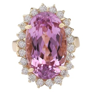 Fashion Strada 14.14 Ctw Natural Kunzite and Diamond In 14k Yellow Gold Ring