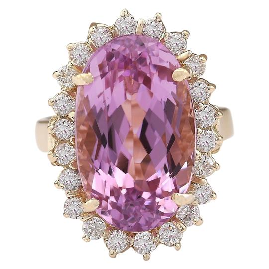 Fashion Strada 14.14 Ctw Natural Kunzite and Diamond In 14k Yellow Gold Ring Image 0