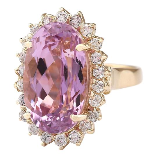 Fashion Strada 14.14 Ctw Natural Kunzite and Diamond In 14k Yellow Gold Ring Image 1