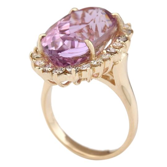 Fashion Strada 14.14 Ctw Natural Kunzite and Diamond In 14k Yellow Gold Ring Image 2