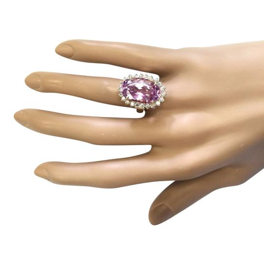 Fashion Strada 14.14 Ctw Natural Kunzite and Diamond In 14k Yellow Gold Ring Image 3
