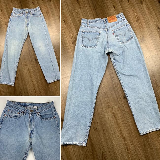 Vintage Levi's 565 Loose Fit Wide Leg Distressed Jeans Relaxed Fit Jeans-Light Wash Image 2