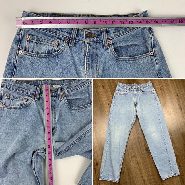 Vintage Levi's 565 Loose Fit Wide Leg Distressed Jeans Relaxed Fit Jeans-Light Wash Image 6