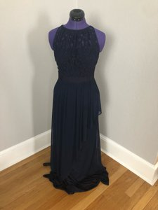 Adrianna Papell Navy Blue Lace A-line Gown Formal Bridesmaid/Mob Dress Size 4 (S)