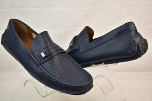 Bally Blue Pryce Navy Perforated Leather Logo Driving Loafers 13 Us 46 Italy Shoes