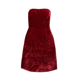 Valentino Velvet Strapless Quilted Satin Viscose Dress
