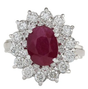 Fashion Strada 3.73ctw Natural Ruby and Diamond 14k Solid White Gold Ring