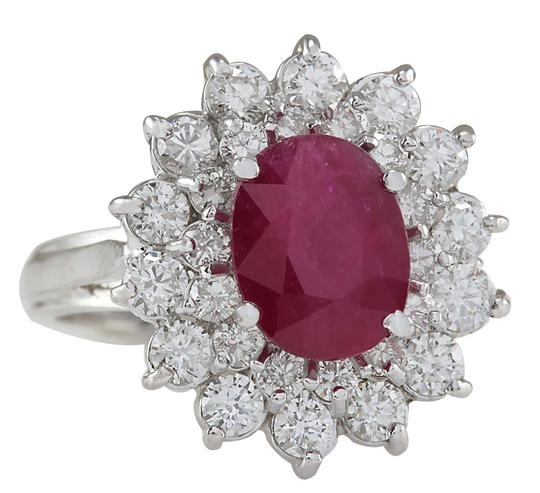 Fashion Strada 3.73ctw Natural Ruby and Diamond 14k Solid White Gold Ring Image 1