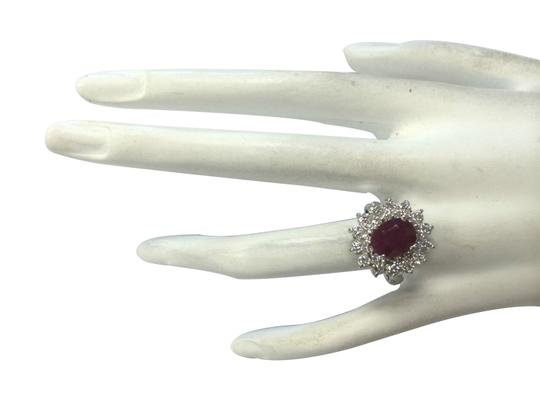 Fashion Strada 3.73ctw Natural Ruby and Diamond 14k Solid White Gold Ring Image 2