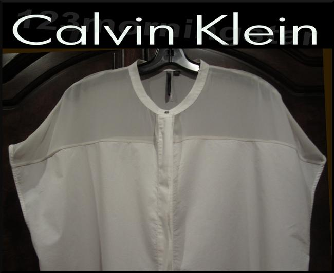 Calvin Klein Gold Speckled Neck Abstract Print Square Neckline Batwing Sleeves Cotton Top Ivory/White Image 1