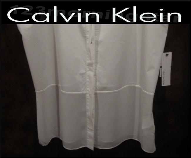 Calvin Klein Gold Speckled Neck Abstract Print Square Neckline Batwing Sleeves Cotton Top Ivory/White Image 4