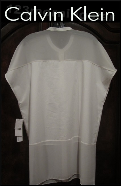 Calvin Klein Gold Speckled Neck Abstract Print Square Neckline Batwing Sleeves Cotton Top Ivory/White Image 7