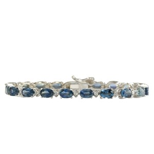 Fashion Strada 12.15ctw Natural Sapphire and Diamond 14k Solid White Gold Bracelet