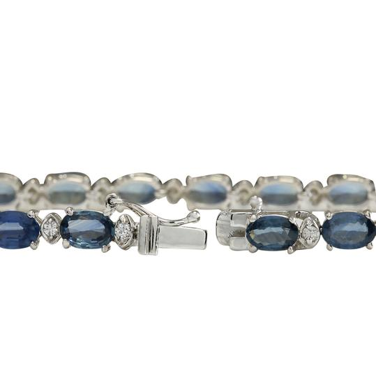 Fashion Strada 12.15ctw Natural Sapphire and Diamond 14k Solid White Gold Bracelet Image 2