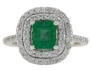 Fashion Strada 2.12ctw Natural Colombian Emerald and Diamond In 14k White Gold Ring