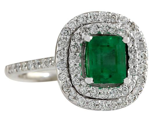 Fashion Strada 2.12ctw Natural Colombian Emerald and Diamond In 14k White Gold Ring Image 1