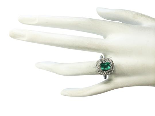 Fashion Strada 2.12ctw Natural Colombian Emerald and Diamond In 14k White Gold Ring Image 2