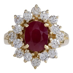Fashion Strada Red 3.08 Carat Natural Ruby 14k Yellow Gold Diamond Ring