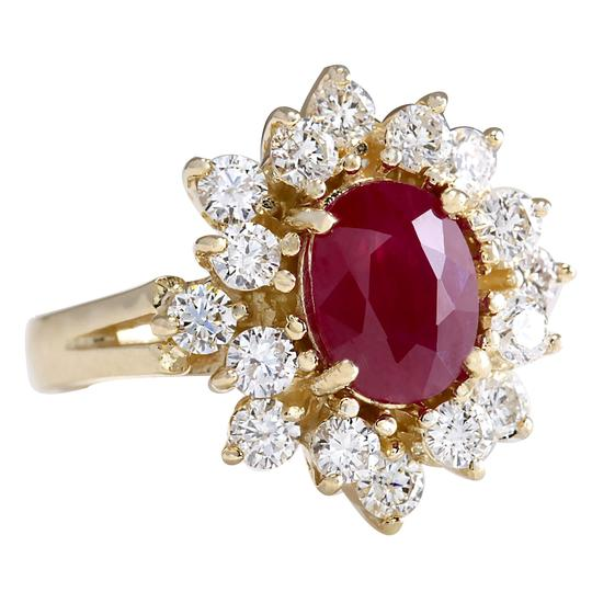 Fashion Strada Red 3.08 Carat Natural Ruby 14k Yellow Gold Diamond Ring Image 1