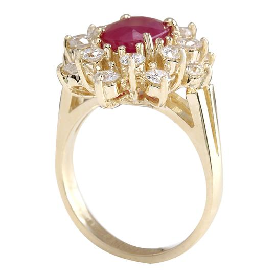 Fashion Strada Red 3.08 Carat Natural Ruby 14k Yellow Gold Diamond Ring Image 2