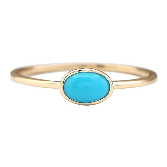 Item - Blue 0.60 Ctw Natural Turquoise In 14k Yellow Gold Ring