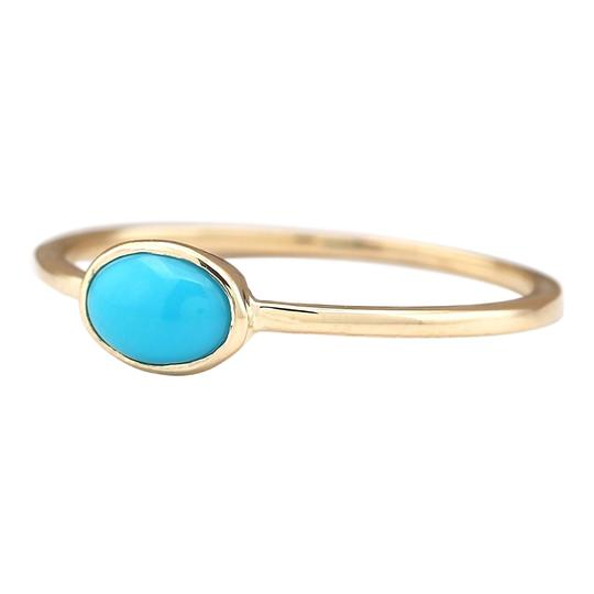 Fashion Strada 0.60 Ctw Natural Turquoise In 14k Yellow Gold Ring Image 1