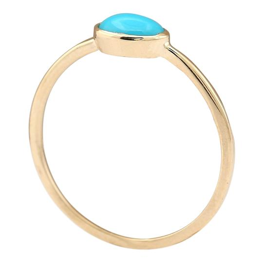Fashion Strada 0.60 Ctw Natural Turquoise In 14k Yellow Gold Ring Image 2