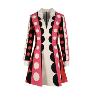 Valentino Polka Dot Wool Silk V-neck Longsleeve Dress