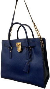 Michael Kors North South Gold Satchel Shoulder Handle Tote in Sapphire Blue