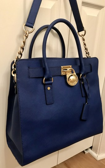 Michael Kors North South Gold Satchel Shoulder Handle Tote in Sapphire Blue Image 1