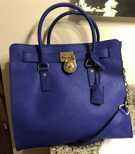 Michael Kors North South Gold Satchel Shoulder Handle Tote in Sapphire Blue Image 2