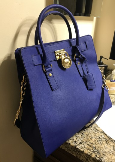Michael Kors North South Gold Satchel Shoulder Handle Tote in Sapphire Blue Image 3