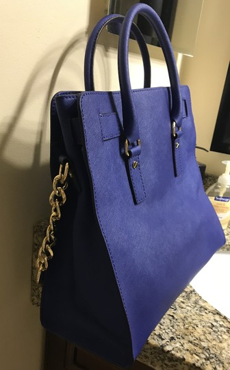 Michael Kors North South Gold Satchel Shoulder Handle Tote in Sapphire Blue Image 4