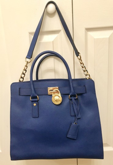 Michael Kors North South Gold Satchel Shoulder Handle Tote in Sapphire Blue Image 5